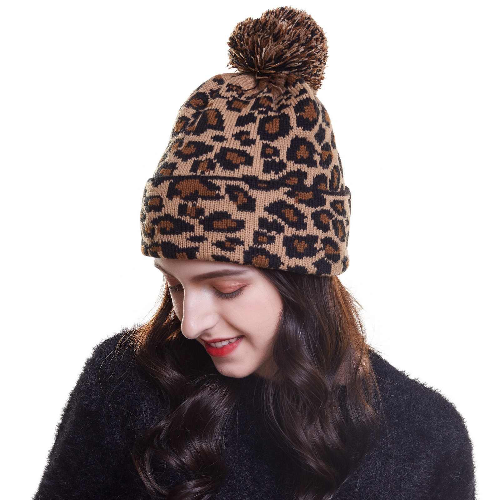 485ef3dec1c93 New Fashion Women Beanie Hat Leopard women Cap Spring Autumn Winter ladies  Hats  Caps Leopard