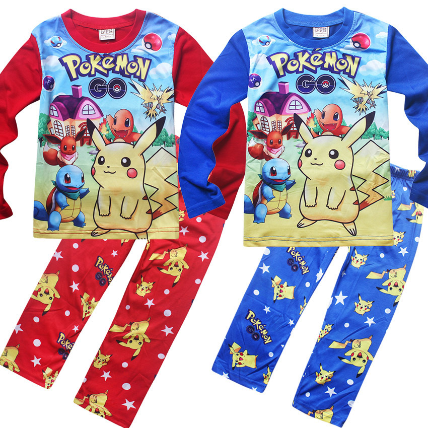 2017 New Cartoon Kids Pajama Sets Children Sleepwear Boys Nightwear POKEMON GO Christmas Pajamas Retail Toddler Baby Pyjamas baby nightwear pajama suit for children pajamas for boys with long sleeve kids pjs sleepwear set children s clothing 1 2 4 year