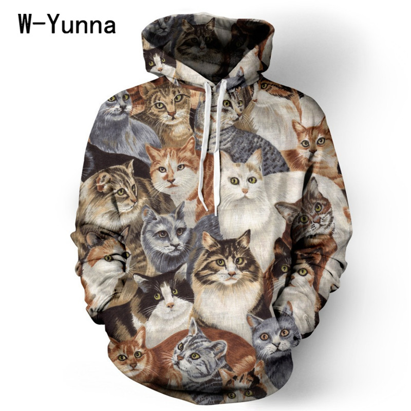 Best selling harajuku 3D print Cat collection workout hoodies causal hooded coat for women/men cotton S-XL sudaderas sweatshirt