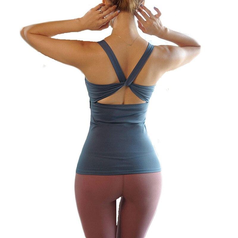 Mermaid curve Sports Vest Wear For Women Gym T-shirt Fitness Tank Sleeveless chest pad Yoga Shirt Top Workout Sweatshirt