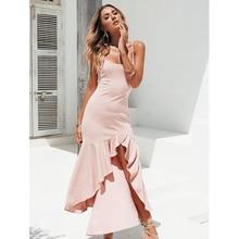 JSMY Women Sexy New Sling Ruffled Irregular Long Dress Backless Party Mermaid Dresses