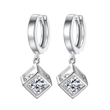 100% 925 sterling silver fashion shiny square cz zircon ladies`stud earrings women jewelry female wedding gift wholesale
