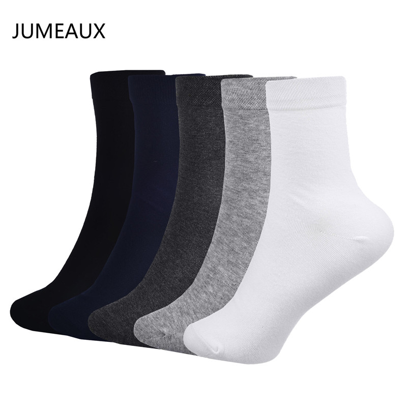 JUMEAUX Casual Solid 5 Pairs/Lot Cotton Soft Men Socks Autumn Winter Warm Breathable Socks