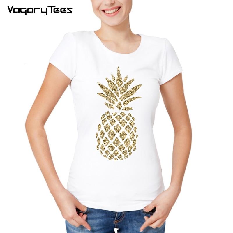 c44f067f67 Camiseta blanca Estilo Hawaiano 2019 verano fruta Casual piña Kawaii  camisetas camisola poleras de mujer
