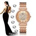 2019 relojes de pulsera de oro rosa para mujer, pulsera de acero inoxidable, relojes de esfera de diamantes de lujo para mujer, reloj de diamantes de imitación para mujer
