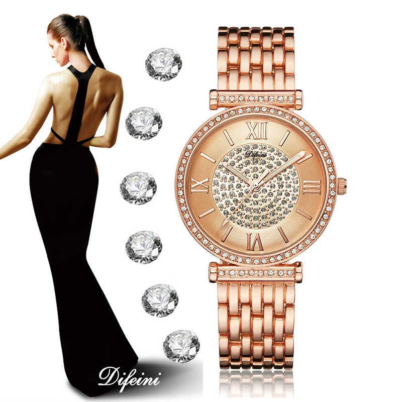 Relojes de pulsera de oro rosa de 2019 para mujer, reloj de acero inoxidable, relojes de esfera de diamante de lujo para mujer, reloj de diamantes de imitación