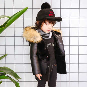 2018 Winter New Children pu leather jacket with Rabbit Fur Detachable Coat Kids boy Girls Warm black  fur Coat Outerwear 2-10Y - DISCOUNT ITEM  45% OFF All Category