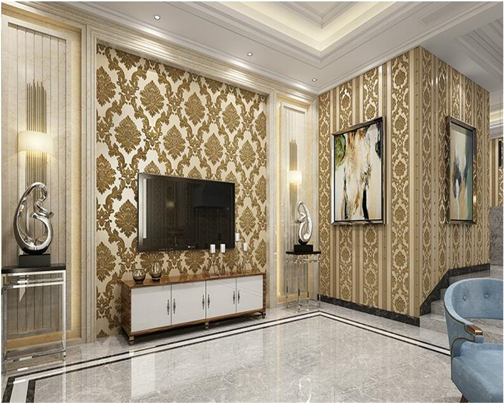beibehang papel de parede European-style relief non-woven 3d wallpaper bedroom living room background wall Damascus AB wallpaper beibehang mediterranean blue striped 3d wallpaper non woven bedroom pink living room background wall papel de parede wall paper
