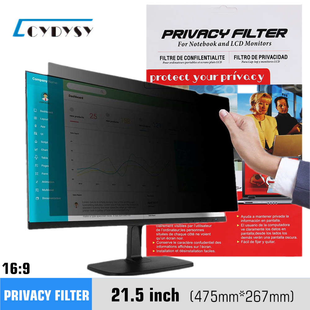 21,5 tommer Privacy Filter Anti-glare Screen Protective Film til 16: 9 widescreen computer 475mm * 267mm