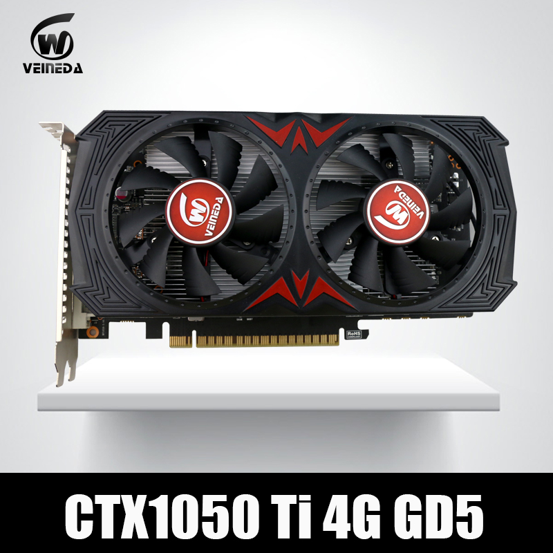 Video Card for Computer VEINEDA Graphic Card PCI-E GTX1050Ti GPU 4G DDR5 Instantkill GTX750Ti ,RX460 for nVIDIA Geforce Game