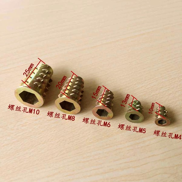 20Pcs <font><b>M4</b></font> M5 M6 M8 <font><b>M10</b></font> Zinc Alloy Thread For Wood Insert Nut Flanged Hex Drive Head Furniture Nuts image