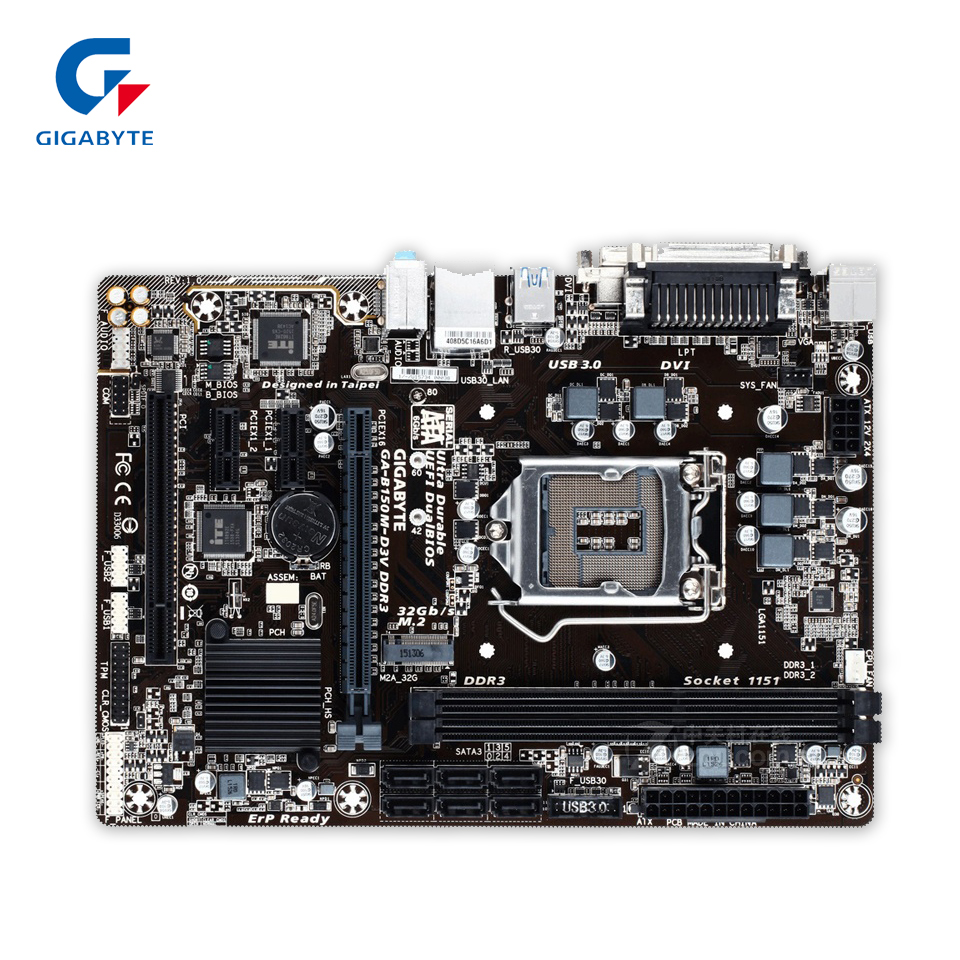 Gigabyte GA-B150M-D3V DDR3 Original Used Desktop Motherboard B150M-D3V DDR3 B150 LGA 1151 i3 i5 i7 Micro-ATX