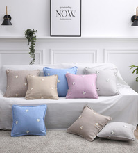 Modern minimalist fabric fashion pillowcase living room embroidery solid color furniture hotel decoration