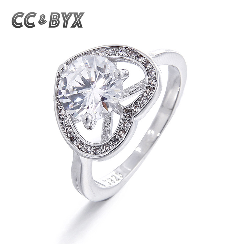 Women's Best Gift White Gold color Heart Ring High Quality CZ Engagement Wedding Rings for Women Bijoux Anillos CC0