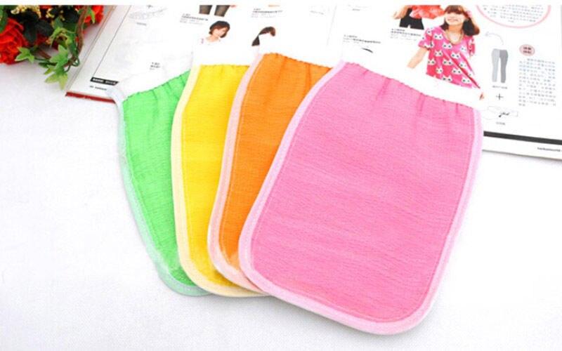 HOT Color Sided Shower Exfoliating Bath Brush Gloves Massage Loofah Scrubber Shower Wash Skin Body Gloves Shower Accessories
