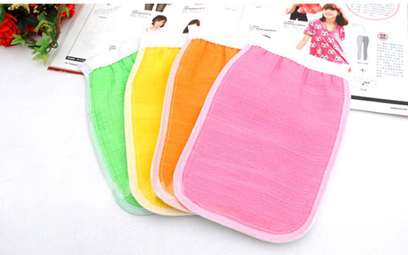 HOT Color Sided Shower Exfoliating Bath Brush Gloves Massage Loofah Scrubber Shower Wash Skin Body Gloves Shower Accessories image