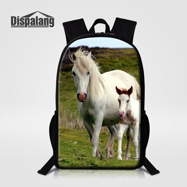 Dispalang Animal Horse Backpack Children Shoulder Bags For School Women Men Travel Bagpack Student Mochila Tollder Bag Rucksack