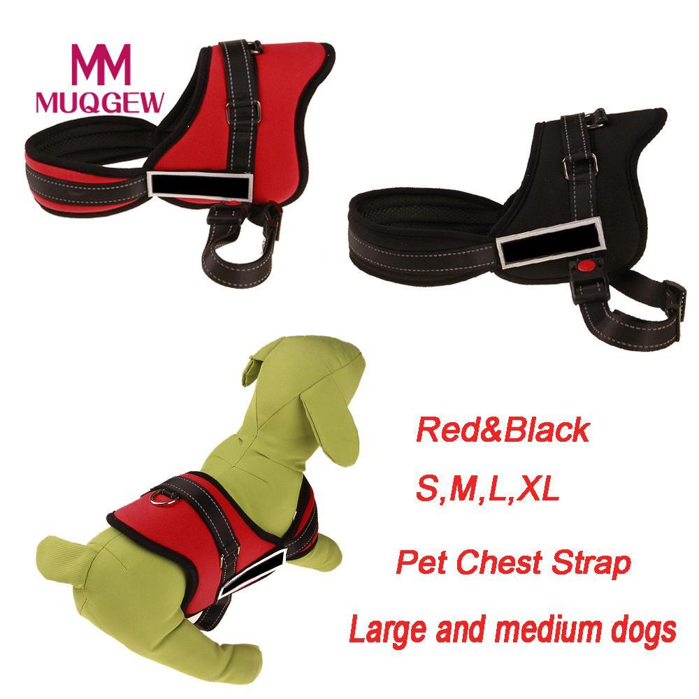 MUQGEW Nylon Chest Strap Pet Dog Traction Explosion Proof Adjustable French Bulldog Dog Collars For Medium Large Dogs XS-XL