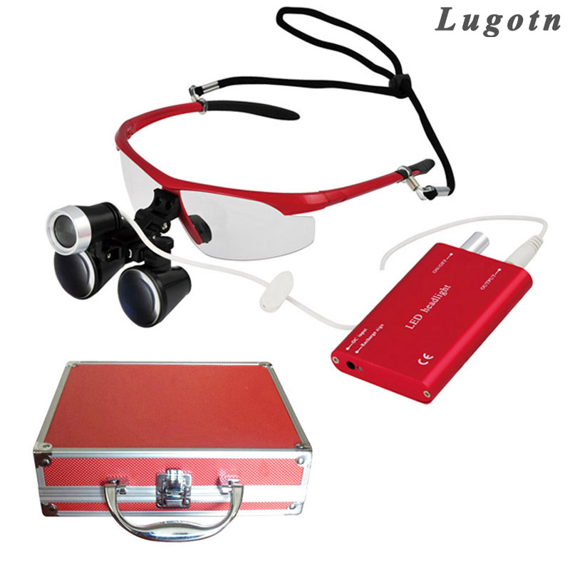 Metal box 2.5X surgical magnify medical dental operating loupe led headlamp operation magnifier wholesale price metal box 3 5x times enlarger dental amplify operate loupe led head light operating magnifier surgical amplification