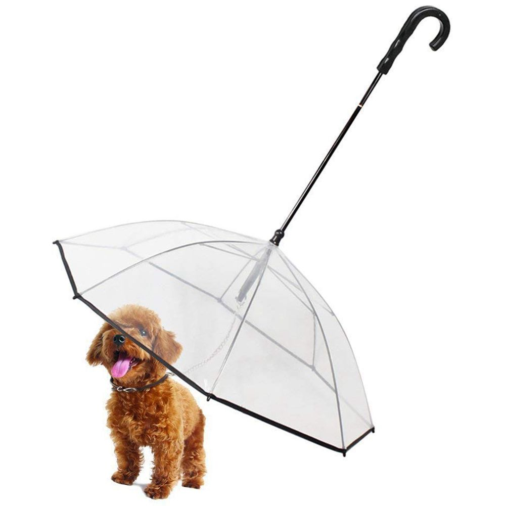 Pet Dog Umbrella With Leash - Easy View Clear Transparent Folding Puppy Umbrella for Small Dogs - Provides Protection from Rai
