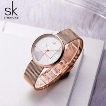 Shengke Luxury Rosegold Mesh Women Ladies Watches Quartz Japanese Move Female Clock Waterproof Wristwatches new 2019
