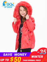 Girls Winter Coat Girls Winter Jacket With Fur Hood For 6 12 Age Luxury Brand Kids Parkas SP SHOW Down & Parkas 0251