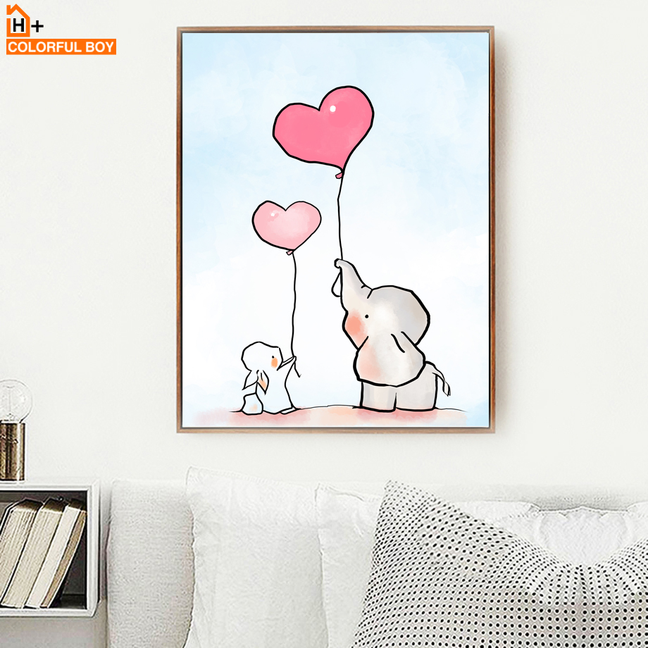 COLORFULBOY Elephant Love Balloon Wall Art Canvas Painting Nordic - Decoración del hogar - foto 2