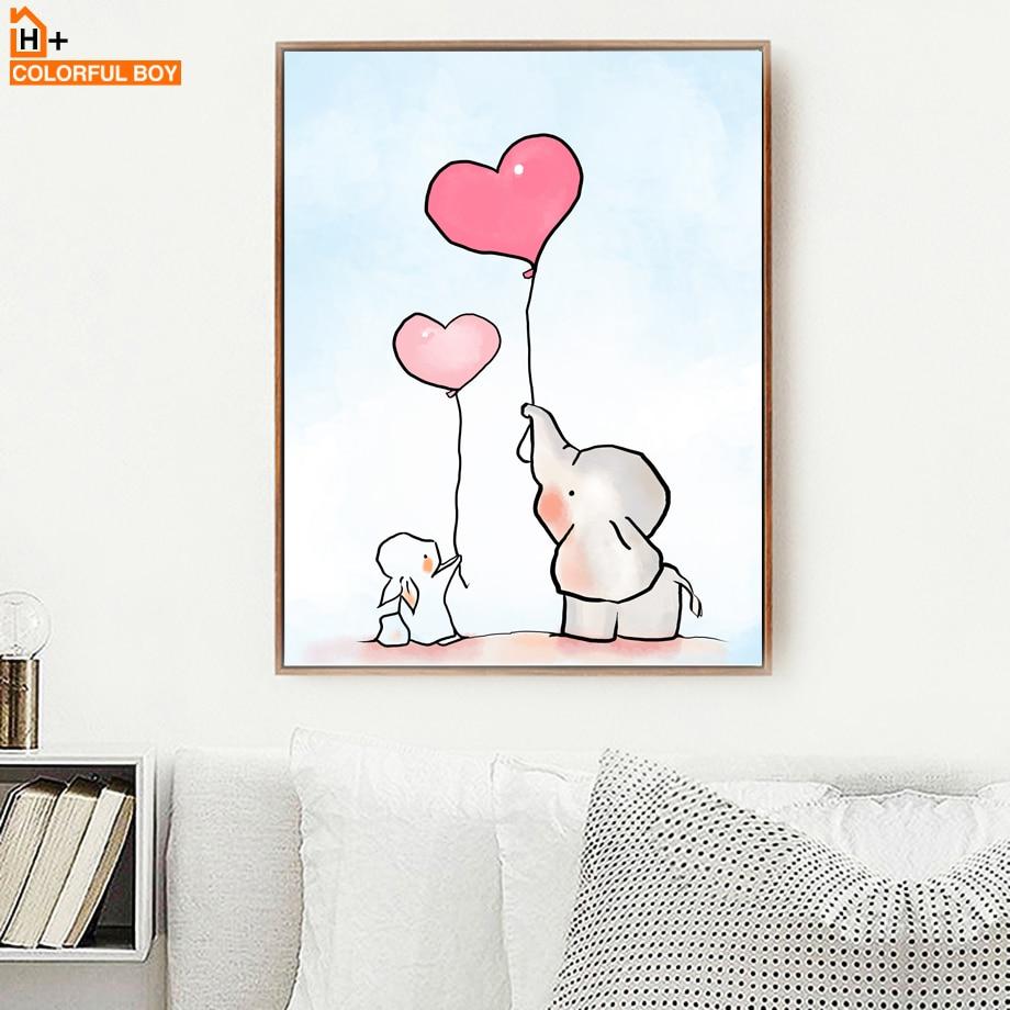 COLORFULBOY Elephant Love Balloon Wall Art Canvas Slikanje nordijskih - Dekor za dom - Fotografija 2