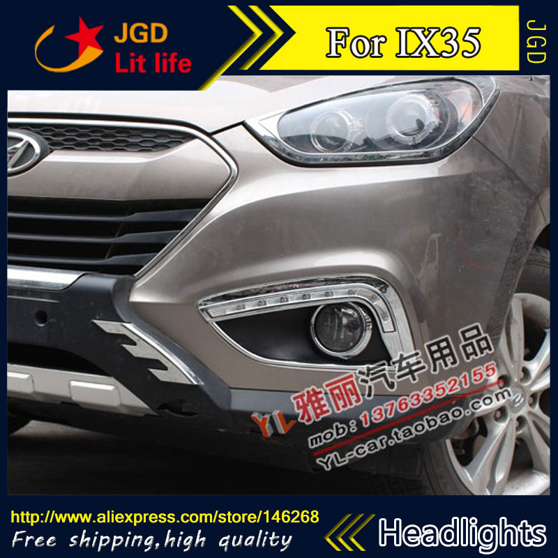 Hot sale ! 12V 6000k LED DRL Daytime running light for Hyundai IX35 2009-2013 Fog lamp frame Fog light Super White
