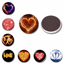 Love-shaped 30 MM Fridge Magnet Glass Refrigerator Sticker Masked Heart Note Holder Home Kitchen Accessories Valentine's Gift