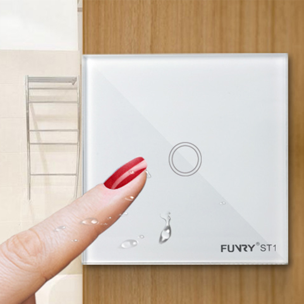 1 Gang 1 Way Smart Switch Remote Control/Touch Wall Light Interruptor Surface Waterproof Tempered Glass Panel funry st1 us 3gang light smart switch crystal glass panel wireless touch remote control 110 240v surface waterproof interruptor