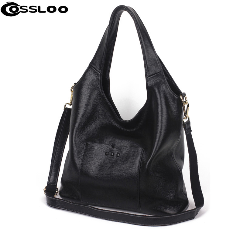 COSSLOO Designer Women Genuine Leather Handbags Large Shoulder Bag Cowhide Ladies Tote Bags Black Red Casual Shopping Bag Bolsos designer black shoulder bags women leather handbags ladies cross body bags large capacity ladies shopping bag bolsa