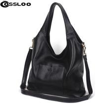COSSLOO Designer Women Genuine Leather Handbags Large Shoulder Bag Cowhide Ladies Tote Bags Black Red Casual Shopping Bag Bolsos