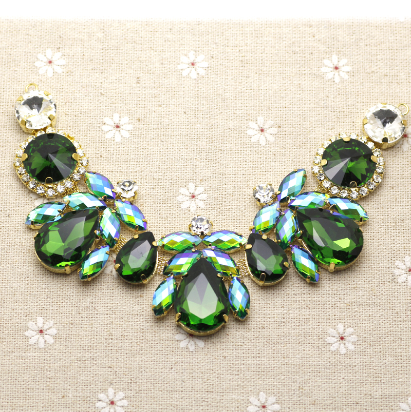 18.5*4.3cm Glass+resin Green AB Colorful Rhinestone Applique Gold Base Wedding Dress Belt Applique Sew On Party Dress Decoration