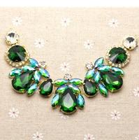 18 5 4 3cm Glass Resin Green AB Colorful Rhinestone Applique Gold Base Wedding Dress Belt