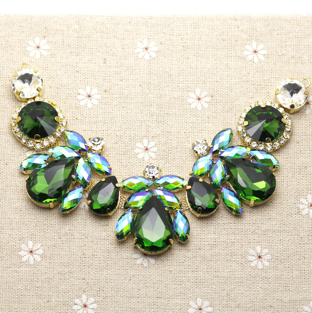 18.5 4.3cm Glass+resin Green AB Colorful rhinestone applique Gold Base wedding  Dress Belt Applique Sew on Party Dress Decoration f0542861108c