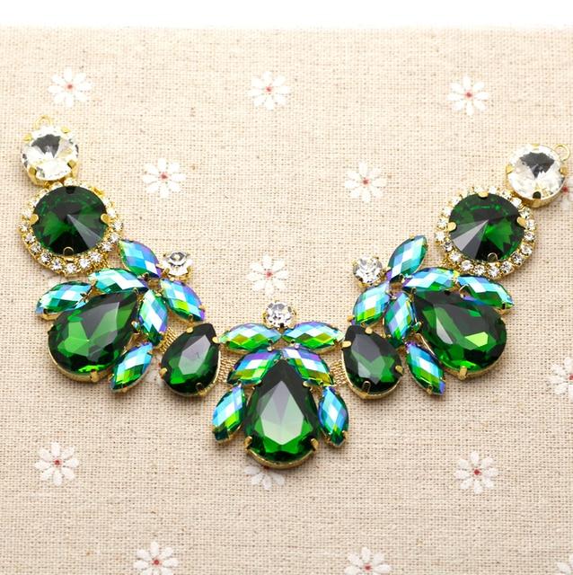 18.5 4.3cm Glass+resin Green AB Colorful rhinestone applique Gold Base  wedding Dress Belt Applique Sew on Party Dress Decoration 5d66b1e5cd2f