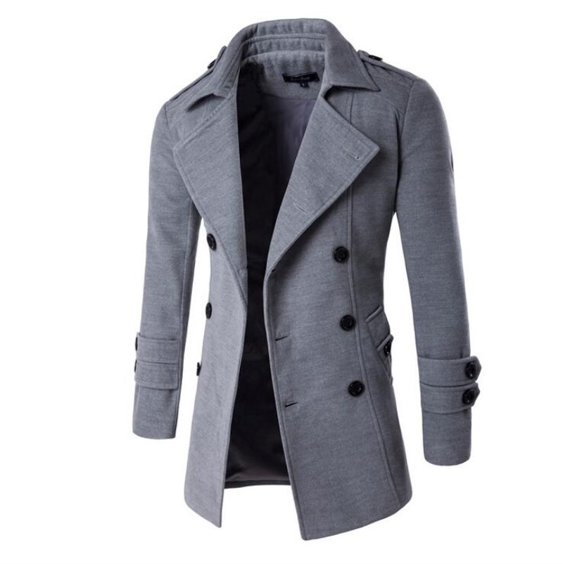 2017 New Fashion Autumn Winter Double Breasted Coats Long Trench Coat Peacoat Men Overcoat Pea Jacket Manteau Homme 9280