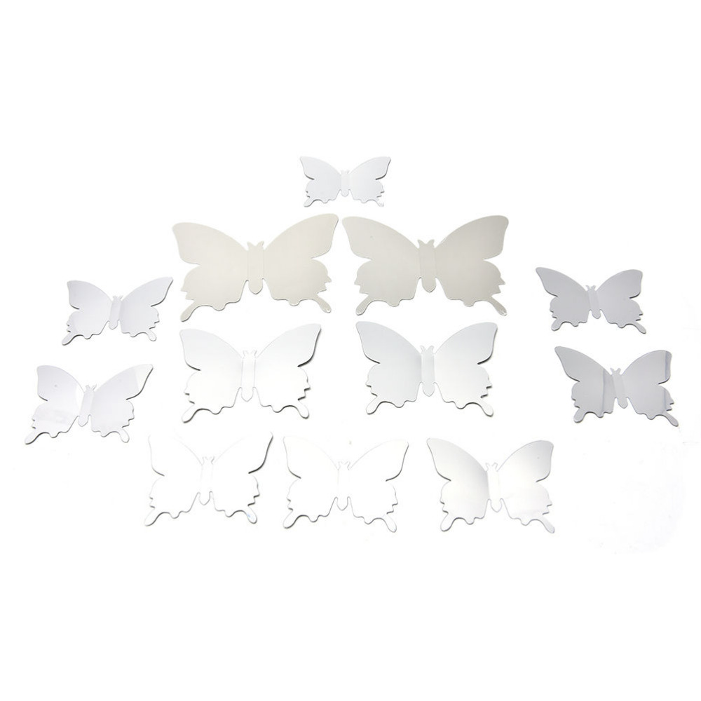 12pcs/set Mirror Wall Stickers Decal Butterflies 3D Mirror Wall Art Home Decors Butterfly Fridge Wall Decal
