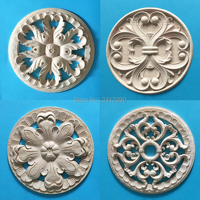 Vintage Wood Carving Furniture Appliques Decoration Nautical Home Decor  Cabinet Door Flower Wood Decals Craft Wood