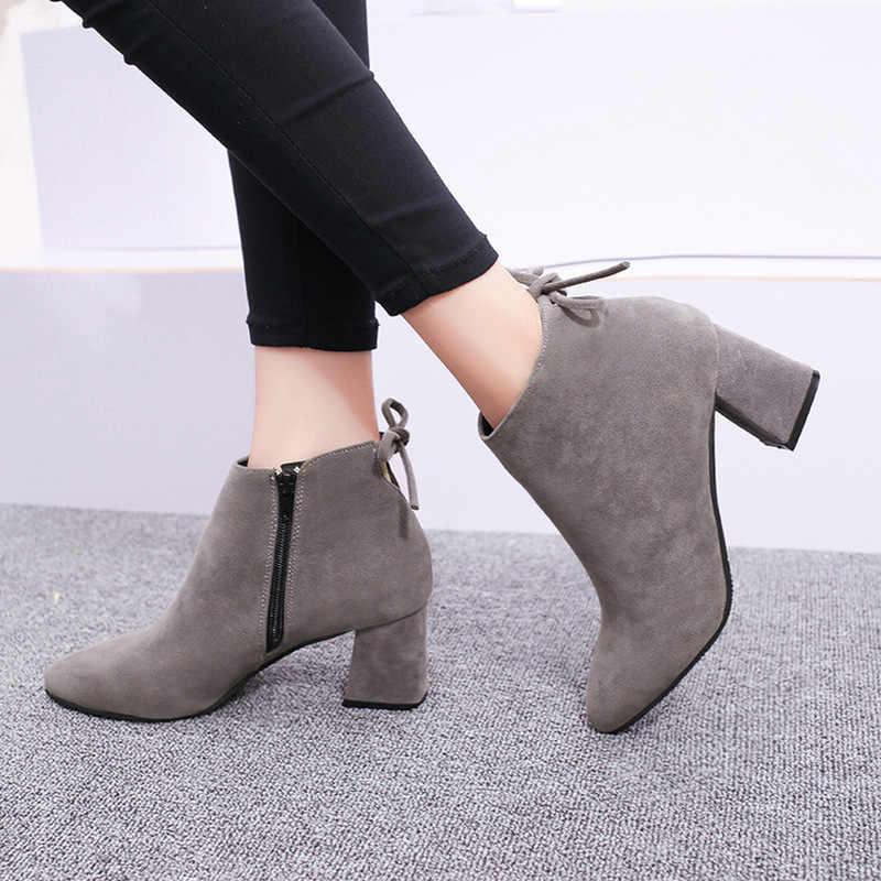 2019 yeni kadın süet çizmeler akın yarım çizmeler kadınlar kış sıcak kadın botları yüksek topuklu kadınlar streç kumaş çizmeler büyük boy 34-40
