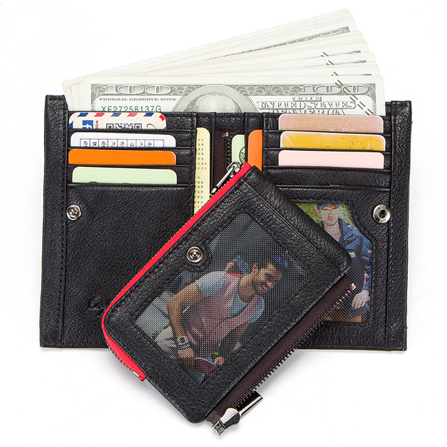 CONTACT'S new genuine leather men's wallet short coin zipper pocket card holder male walet slim man's purse small portemonnee 2