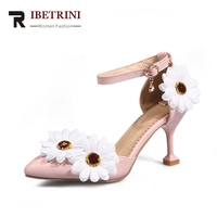 RIBETRINI 2018 Best Quality Big Size 32 46 Sun Flowers Princess Summer Sandals High Heels Party Prom Wedding Shoes Woman