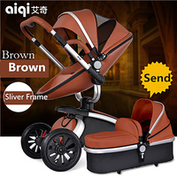 Aiqi Brand European Luxury PU Leather Baby Stroller High View Prams Folding Car Poussette Buggy Stroller with Sleeping Bags