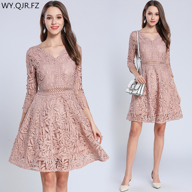 MGE3279#V-neck Short Pink Lace   Bridesmaid     Dresses   wedding party   dress   prom gown 2018 summer Ladies fashion cheap wholesale