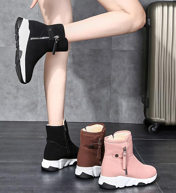 New Fashion Women Boots Snow Boots Sneakers Plush High Top Velvet Cotton Shoes Warm Lace-up Non-slip boots 52