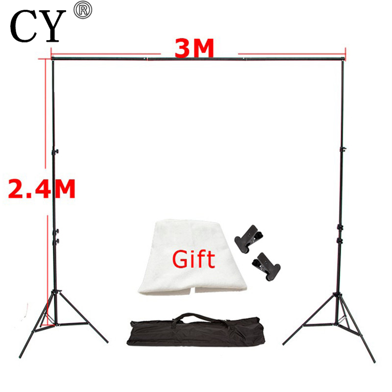 CY Photography Photo Background Backdrop Support System Set (3M Crossbar+2.4M Light Stand*2+Carrying Bag*1) With a Free Backdrop 2 8m x 3m pro adjustable background support stand photo backdrop crossbar kit photography stand 3 clips for photo studio