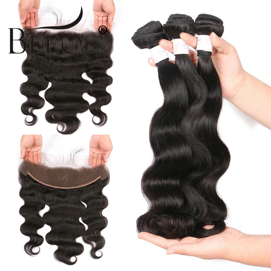 Beeos 13x4 Lace Frontal Closure With Bundles Brazilian Body Wave Human Hair Bundles With Lace Closure Remy Hair