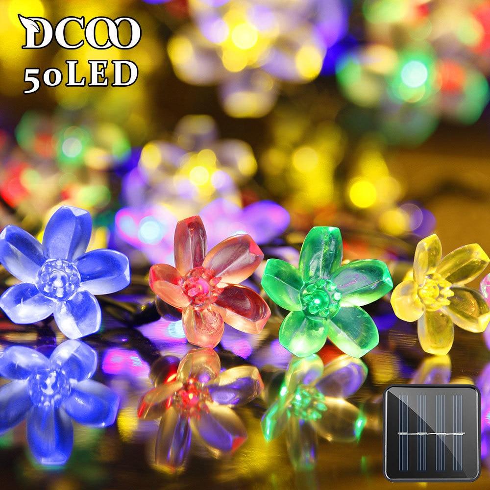 Solar String Lights 50 LEDs Flower Blossom Christmas Fairy Party Lights Outdoor Lighting Strings Garden Solar Lights Decoration