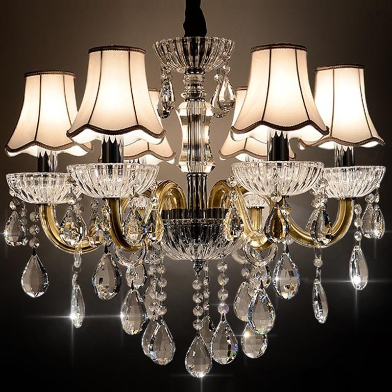 Fashion brief crystal pedant lamps living room restaurant lamp Cloth shade 6 heads pendant lights